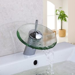 Wholesale Chrome Glass Bathroom Basin Sink - Wholesale- RU Free Shipping Bathroom Basin Mixer Tap Waterfall Faucet Sink Vessel Chrome Polished Finished Glass New Excellent Quality