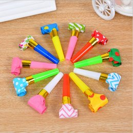 Wholesale Wholesale Childrens Toy Box - Wholesale-Useless Box Colorful Funny Whistles Kids Childrens Birthday Party Dots Blowing Dragon Blowout Baby Toys Gift Accessory Supplies