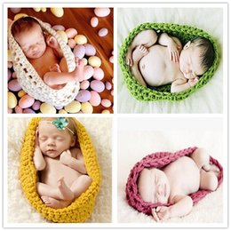 Wholesale Cute Girls Hat Photos - Newborn Crochet Baby Costume Photography Props Knitting Baby Hat Infant Photo Props New Born Boy Girl Cute Outfits