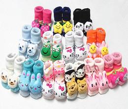 Wholesale Socks Animals Doll - 0 - 6 month neonatal cotton warm doll socks Autumn winter cartoon bow smiling face rabbit strawberry floor Infantry socks L53