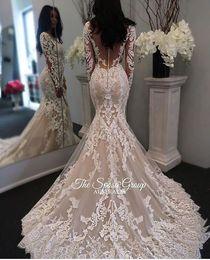Nuova illusione maniche lunghe in pizzo Mermaid abiti da sposa di Tulle di Applique Court sposa Abiti da sposa con pulsanti da