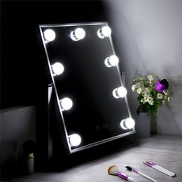 Wholesale Vanity Mirror Lights Bulbs - 2017 New Mold Led Mirror Touch Screen Makeup Lighted Vanity Beauty Cosmetic Light Bulbs Make Up
