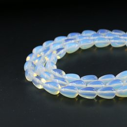 Wholesale 12mm Loose Beads - Semi Precious Gemstones, 8*12mm Smooth Teardrop Beads Loose Natural White Opal Gemstone Strand 31pcs per set