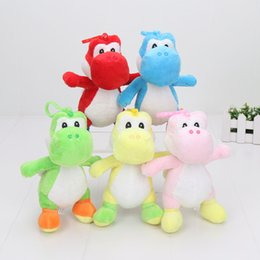 Wholesale Stuffed Yoshi - 1piece 5colors 18cm Yoshi plush toy super mario soft stuffed pendant doll toy green yoshi with hook kids toys