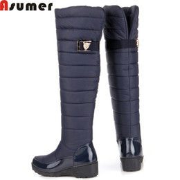 snow boots long high Promo Codes - Wholesale-ASUMER 2016 new fashion keep warm snow boots fashion platform over the knee high boots women fur winter boots long shoes woman