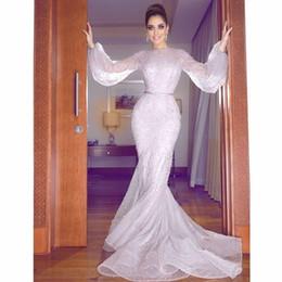 Wholesale Bead Strapless Gown Dark Blue - Mermaid Long Sleeve Beads Jewel Sweep Train Luxurious Evening Dresses Arabic Evening Gowns Zipper Prom Dresses