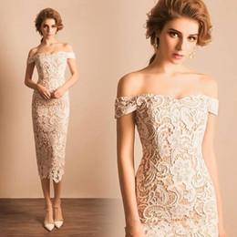 Wholesale Informal Bridal Gowns Dresses - 2017 Sexy Off the Shoulder Full Lace Wedding Dresses Sheath Tea Length Short Party Dresses Custom Informal Bridal Reception Gowns ba4655