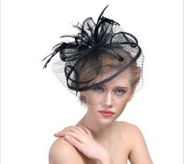 Wholesale Orange Wedding Hats - 9 Colorful 2017 European Fascinator Hat Feather Handamde Sinamany Melbourne Cup,Ascot Races,kentucky Derby Hats Bridal Wedding Accessories