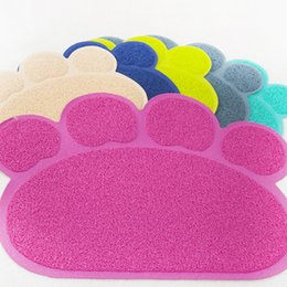 Wholesale Cat Feeding - Pet Dog Feeding Mat Pad Paw PVC Bed Dish Placements Cat Litter Mat Pet Food Water Feed Placement Pets Carpet Pet Accessories YFA215