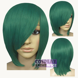 Wholesale Long Layers Wig - 40cm Dark Green Heat Styleable Long Bang Layer Base Cosplay Wig 65_DGE