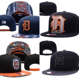Wholesale Wholesale Tiger Hats - Hot Sales Detroit Tigers Baseball Cap Embroidered Team logo Fitted Cap Sport Fit Hats Colorfull Free Shipping