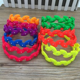 Wholesale Cute Hair Bands For Girls - 12pcs Bright Colors Plastic Headbands ABS Material Cute Girls Headwear Hair Accessories Tiaras Hard Bands For Girls