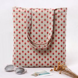 Wholesale Strawberry Reusable Tote - Wholesale- YILE 2 layer Cotton Linen Eco Reusable Shopping Tote Carrying Bag Strawberry L259 NEW