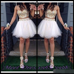 Wholesale Lilac Dresses For Sale - 2 Piece Ball Gown Homecoming Dresses With Gold Beaded Straps Tulle White Short Prom Dress Sweet 16 Gown cheap for sale