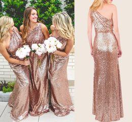 Wholesale One Shoulder Rose Dress - Rose Gold Sequins Bridesmaid Dresses One Shoulder Ruffles Floor Length Champagne Boho Bridesmaid Gowns Sparkly Long Prom Dresses