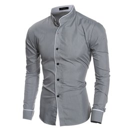 Wholesale Stand Up Collar Shirts - 2016 new Autumn England style Personalized Trim Stand up collar shirts for men Casual slim black shirts men size M-XXL