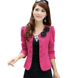 Wholesale Wholesale Women Korean Vest - Wholesale- Spring Autumn Short Jackets Women Double Breasted Appliques Slim Cardigan Korean Style O-neck Long Sleeve Thin Suit Coat SS421