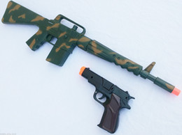 Wholesale Dart Rifles - 2X Toy Guns Military M-16 Dart Rifle Machine Gun & Black 9MM Pistol Cap Gun Set