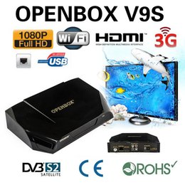 Wholesale Wifi Tv Satellite - 10pcs Original Openbox V9S HD DVB-S2 Satellite Receiver Support WEB TV Biss Key USB Wifi 3G CCCAMD NEWCAMD Free IPTV