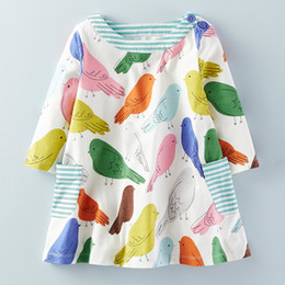 Wholesale Colorful Girl Clothes - Girls Dresses Childrens Short Sleeves Pretty Colorful Cartoon Bird Printed Cotton Dress Girls Summer Sweet Dress Kids Clothes