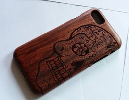Wholesale Skull Hard Case - Genuine Real Natural Wood Wooden Hard Back Case For iPhone 6 iPhone 6 Plus iPhone 7 iPhone 7 Plus Skull Design on Rose Wood