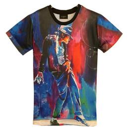 Wholesale Michael Jackson Tshirt Man - tshirt New Fashion men's 3d T-shirt print King of Rock Roll Michael Jackson 3d t shirt for men Boy Tshirt Asia M L XL XXL HT8