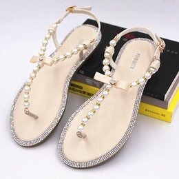 Wholesale Wedding Pearl Sandals - Brand women's sandals 2017 summer beaded stone pearl female sandals Rome flat sandwich toe women's sandals flat wedding shoes