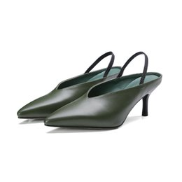 Wholesale Wedding Dresses 88 - KSJYWQ Genuine leather Women Slingbacks 6.5 cm High heels Summer Style Pointed-toe Sandals for Girls Box Packing DMJ-88-210