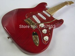 Wholesale St Transparent - custom guitar factory 2015 new Top Quality Natural wood transparent red Custom st Electric Guitar Gold hardware stratocaster