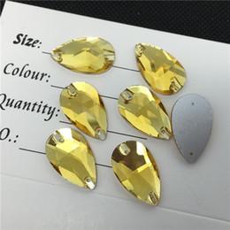 Wholesale Topaz Sew Rhinestones - Teardrop Sew on Stones Topaz Flatback Sew-on Crystal Beads with 2 holes Perfect For We, 7x12mm 10.5x18mm 13x22mm 17x28mm 22x38mm