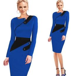 Wholesale Office Formal Wear - Black Dress Tunic Women Formal Work Office Sheath Patchwork Line Asymmetrical Neck Knee Length Plus Size Pencil Dress