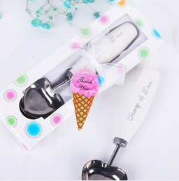 Wholesale Wedding Favor Spoon Box - 100 sets Lot Personalized party wedding favors stainless steel love ice cream scoop spoon with handle gift box packaged