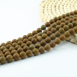 Wholesale Green Wooden Beads - Semi Precious Beads Natural Wooden Line Jasper Gemstone 4 6 8 10mm Full Strand 15'' Beading Supply L0068#