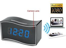 vista remota dvr Sconti 1080P P2P Wif Wireless Alarm Clock Camera RJ45 DVR Telecamere di sicurezza remote Mini Videoregistratore IR Night Vision per iOS Android Visualizza 160 ° Len