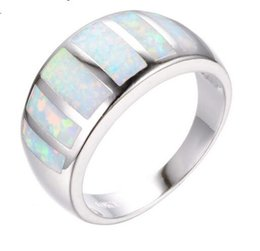 Wholesale Opal Bridal Set - Unique Jewelry White Rainbow Fire Opal Rings For Women Bridal White Gold Filled Wedding Party Finger Ring Valentine's Day