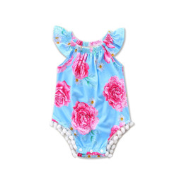 Wholesale Headband Tutu Rompers - 2017 INS babies rompers baby girl floral jumpsuit kids one-piece jumper summer toddler clothes child infant cute clothing
