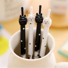 nouveautés en gros du bureau Promotion 36Pcs / Lot Cute Cat Gel Pen Nouveauté Cartoon Animal Kitty Stylos encre noire Papeterie École Fournitures de bureau en gros