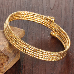 Wholesale Snake Wedding Rings - hot sale jewelry fashion 18k gold plated copper multi layer circle adjustable wedding woman bangle bracelet