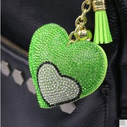 Wholesale Double Heart Keychain - Double Love Heart Keychain 8 Colors Full Crystal Key Ring Women Handbag Pendant Charms Long Tassel Golden Chain Bag Keyring & Key Holder