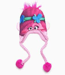 Wholesale Blue Wizard Cartoon - Baby Girls Troll Doll Hat Kids Cartoon Ear Cap Magic Wizard 2017 New America Baby Boy Girl Hat Cap Fast Shipping