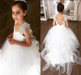 Wholesale Little Girls White Feather Dresses - Crystals Lace Feather Ball Gown Flower Girl Dresses Vintage Backless Little Girl Wedding Dresses Cheap Child Pageant Dresses