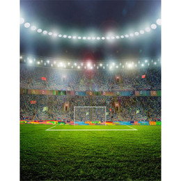 Wholesale Football Photo Prop - Green Football Field Photography Backdrops Vinyl Studio Props Night Lights Boy Kids Children Sports Stadium Photo Background