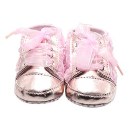 Wholesale Bright Babies - Wholesale- Rose Flowers The Baby Shoes Bud Silk Pink Bright Lace-up Lovely Princess Baby Girl Shoes Factory Price Wholesale