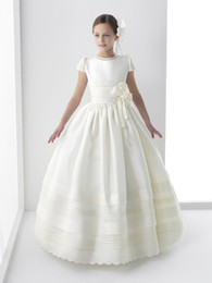Wholesale First Photos - 2017 Real photo Cute Flower Girls Dresses For Weddings New Cap Sleeve Bow Lace First Communion Dress For Girls Custom Made