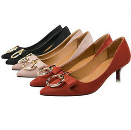 Wholesale Womens Elegant Heels - Women Classic Pumps Flock Suede Shallow Mouth High Heel Shoes Pointed Thin Heeled Sexy Elegant OL Office Shoes Single Womens Wedding Shoes
