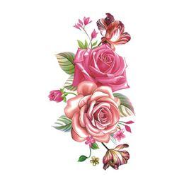 2019 pintura corporal de prata Flor Rosa À Prova D 'Água Etiqueta Do Tatuagem Temporária para As Mulheres Body Art Tatuagem Falsa 10.5X6 cm Novo Design Tatoo P-061