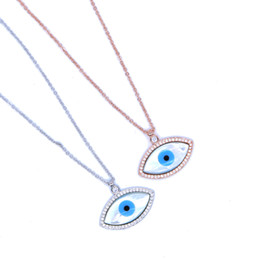 Wholesale Turkish Link Gold - factory wholesale fashion jewelry big pendant mother of pearl evil eye charm pave cz delicate turkish evil eye necklace