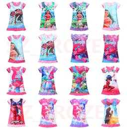 Wholesale Ruffle Children Clothing - 2017 Summer Baby Girl Dress Ice Silk Cartoon Trolls and Moana Kids Pajamas Ruffle Hem Extra Comfy Girls Clothes Children Clothing Free Ship