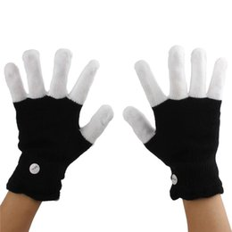 Wholesale White Rave Glove Lights - NEW LED black + White Gloves Flashing Gloves Glow LED Light Up Rave Glove Glow Light Finger Gloves party props