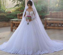 Wholesale Plus Size Couture Wedding Dresses - Robe de mariee Long Sleeves Wedding Dresses 2018 Illusion Neck Ball Gown Beaded Lace Tulle Bride Dresses Couture
